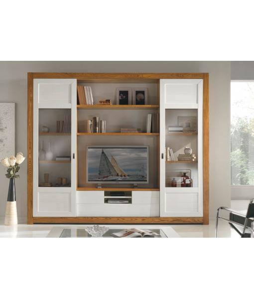 Wohnwand aus Eschenholz mit Schiebetüren, Art.-Nr. MG724