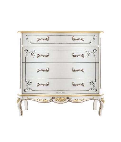 Schlafzimmer-Kommode in Weiß und Gold, Art.-Nr. A213-V