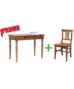 Schreibtisch & Stuhl aus Holz in Farbe Nussbaum