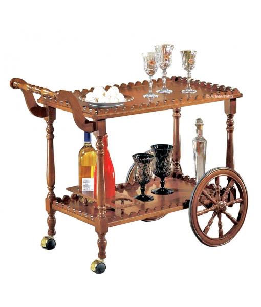 Klassischer Servierwagen mit Flaschenhaltern, Art.-Nr. 902-T