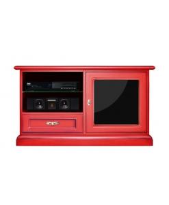 Roter TV-Schrank, Klassischer Schrank Made in Italy