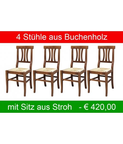 4 Stühle mit Sitz aus Stroh