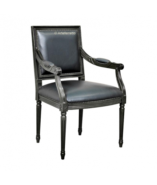 Sessel klassisch schwarz Kunstleder, Art.-Nr. STY-A03-Black